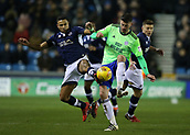 9th February 2018, The Den, London, England; EFL Championship football, Millwall versus Cardiff City; James Meredith of Millwall and Gary Madine of Cardiff City compete for the ball