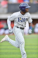 Princeton Rays left fielder Tony Pena (7) runs to first base during a game against the Johnson City Cardinals at TVA Credit Union Ballpark on August 9, 2018 in Johnson City, Tennessee. The Rays defeated the Cardinals 10-2. (Tony Farlow/Four Seam Images)