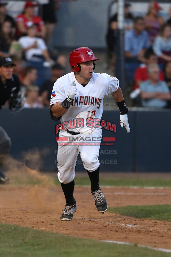 Connor Panas (12) of the Vancouver Canadians runs to first base during a game against the Tri-City Dust Devils at Nat Bailey Stadium on July 23, 2015 in Vancouver, British Columbia. Tri-City defeated Vancouver, 6-4. (Larry Goren/Four Seam Images)
