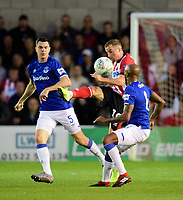 Lincoln City's Joe Morrell vies for possession with Everton's Michael Keane, left, and Everton's Fabian Delph<br /> <br /> Photographer Chris Vaughan/CameraSport<br /> <br /> The Carabao Cup Second Round - Lincoln City v Everton - Wednesday 28th August 2019 - Sincil Bank - Lincoln<br />  <br /> World Copyright © 2019 CameraSport. All rights reserved. 43 Linden Ave. Countesthorpe. Leicester. England. LE8 5PG - Tel: +44 (0) 116 277 4147 - admin@camerasport.com - www.camerasport.com