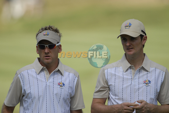 European Team members Ian Poulter and Justin Rose on the 13th green during Practice Day1 of the 37th Ryder Cup at Valhalla Golf Club, Louisville, Kentucky, USA, 17th September 2008 (Photo by Eoin Clarke/GOLFFILE)