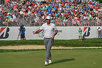 Jason Day (AUS) sinks his putt on 18 during 4th round of the World Golf Championships - Bridgestone Invitational, at the Firestone Country Club, Akron, Ohio. 8/5/2018.<br /> Picture: Golffile | Ken Murray<br /> <br /> <br /> All photo usage must carry mandatory copyright credit (© Golffile | Ken Murray)