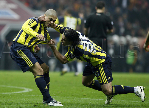 18 03 2011  Turkish  Super League local derby.   between Galatasaray Red Yellow and Fenerbahce Navy Blue Yellow AT Turkcell Telekom Arena Stage in Istanbul ON March 18 2011 Match Scored Galatasaray 1 Fenerbahce 2  Mehmet Topuz l Alex de Souza of Fenerbahce