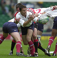 25/05/2002 (Saturday).Sport -Rugby Union - London Sevens.Canada vs France (Final) .France winning final.Jerome Daret moving the ball.[Mandatory Credit, Peter Spurier/ Intersport Images].