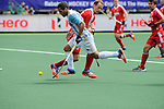 The Hague, Netherlands, June 15: Agustin Mazzilli #26 of Argentina dribbles the ball during the field hockey bronze match (Men) between Argentina and England on June 15, 2014 during the World Cup 2014 at Kyocera Stadium in The Hague, Netherlands. Final score 2-0 (0-0)  (Photo by Dirk Markgraf / www.265-images.com) *** Local caption ***