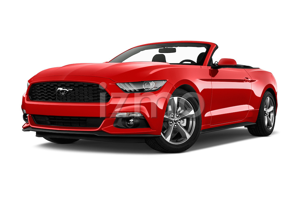 Stock pictures of low aggressive front three quarter view of 2016 Ford Mustang V6 2 Door Convertible Low Aggressive