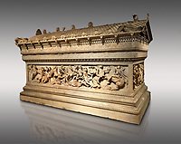 Alexander The Great ( Alexander III of Macedon) 4th Cent BC. Sarcophagus calved from Pentelic Marble from the Royal Necropolis of Sidon, Chamber no.III, Lebanon. Istanbul Archaeological Museum Inv. 370T Cat. Mendel 68