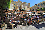 National Library building people at cafes in Republic Square, Valletta, Malta