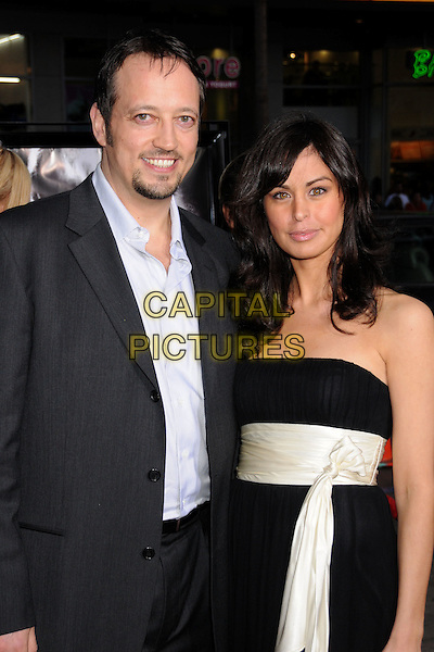 "GRAHAM ROBERT TAYLOR & GUEST .""Vice"" Los Angeles Premiere at Grauman's Chinese Theatre, Hollywood, California, USA, 7 May 2008.half length strapless black dress cream .CAP/ADM/BP.©Byron Purvis/Admedia/Capital PIctures"