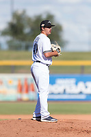 Peoria Javelinas relief pitcher Daniel Brown (49), of the Milwaukee Brewers organization, gets ready to deliver a pitch during an Arizona Fall League game against the Glendale Desert Dogs at Peoria Sports Complex on October 22, 2018 in Peoria, Arizona. Glendale defeated Peoria 6-2. (Zachary Lucy/Four Seam Images)