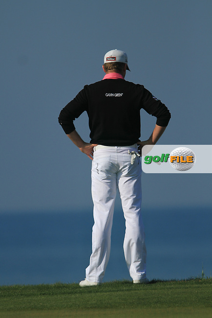 Jamie Donaldson (WAL) looks for Andrew Marshalls ball on the 8th on Day 4 of the 2012 Sicilian Open at Verdura Golf and Spa Resort, Sicily, Italy...(Photo Jenny Matthews/www.golffile.ie)
