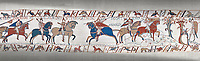 Bayeux Tapestry scene 49:  As he advances Duke William is told where the Saxon army is.