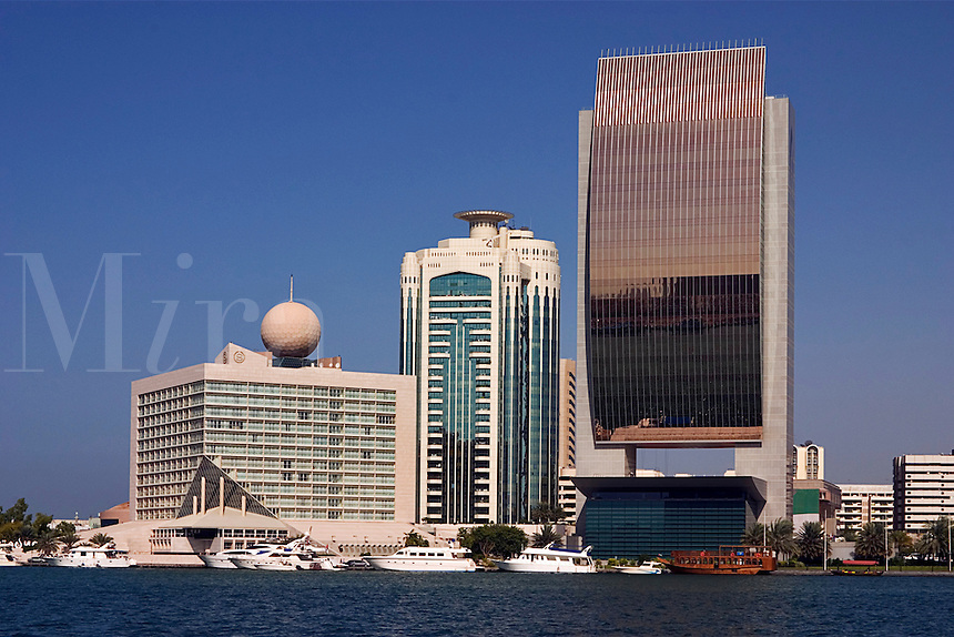 Dubai, United Arab Emirates. Dubai Creek and commercial waterfront offices, hotels, etc. National Bank of Dubai. .