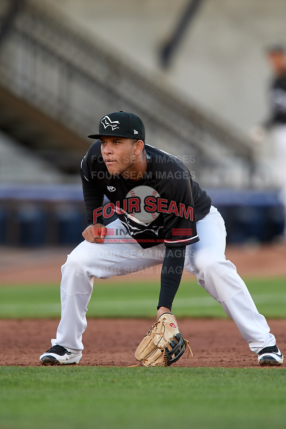 Quad Cities River Bandits third baseman Randy Cesar (30) during a game against the Lake County Captains on May 6, 2017 at Modern Woodmen Park in Davenport, Iowa.  Lake County defeated Quad Cities 13-3.  (Mike Janes/Four Seam Images)