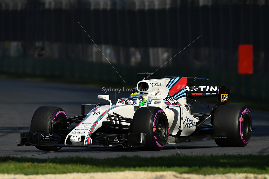 March 26, 2017: Felipe Massa (BRA) #19 from the Williams Martini Racing team rounds turn three at the 2017 Australian Formula One Grand Prix at Albert Park, Melbourne, Australia. Photo Sydney Low