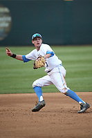 Ryan Kreidler (3) of the of UCLA Bruins in the field at shortstop during a game against the University of San Diego Toreros at Jackie Robinson Stadium on March 4, 2017 in Los Angeles, California.  USD defeated UCLA, 3-1. (Larry Goren/Four Seam Images)