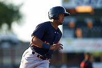 State College Spikes right fielder Ricardo Bautista (12) running the bases during a game against the Batavia Muckdogs on June 24, 2016 at Dwyer Stadium in Batavia, New York.  State College defeated Batavia 10-3.  (Mike Janes/Four Seam Images)
