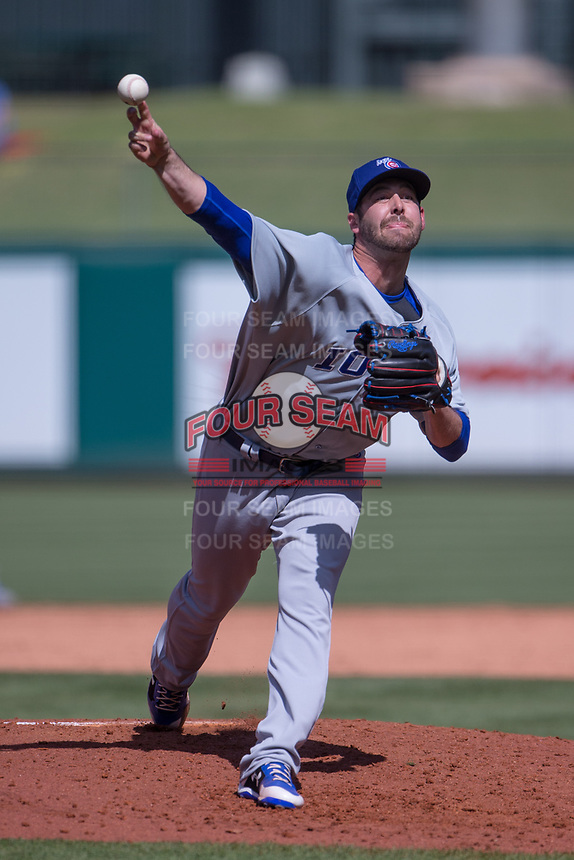 Dylan Floro (15) of the Iowa Cubs pitches during a game against the Oklahoma City Dodgers at Chickasaw Bricktown Ballpark on April 9, 2016 in Oklahoma City, Oklahoma.  Oklahoma City defeated Iowa 12-1 (William Purnell/Four Seam Images)