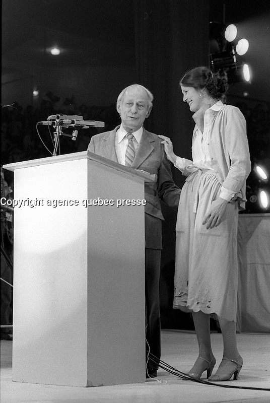 Parti Quebecois  leader  Rene Levesque (and wife Corinne Cote-Levesque ) victory speech on election night, April 13, 1981.<br /> <br /> He  got elected for a second term