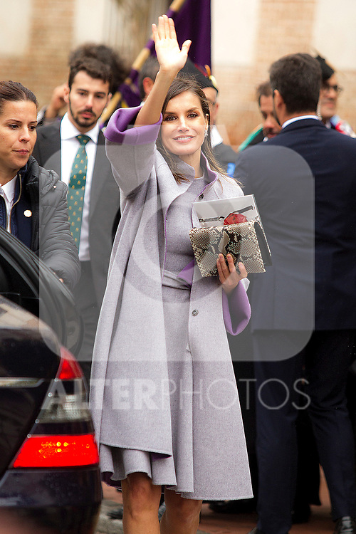 Queen Letizia of Spain during the Cervantes Literature Prize ceremony at the University of Alcala in Madrid on April 23, 2019. (ALTERPHOTOS/Alconada).