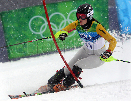Christina Geiger of Austria competes in the first run of womens` slalom during the Vancouver 2010 Olympic Games at Whistler Creekside on 26 February 2010 in Whistler, Canada. Photo: Karl-Josef Hildenbrand  /Actionplus. Editorial Use UK.