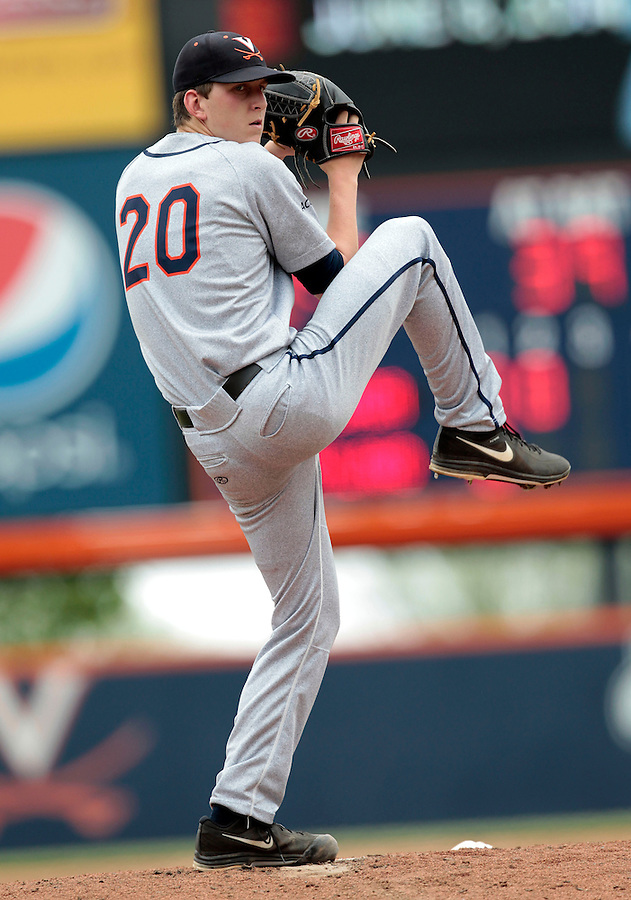 Virginia pitcher Brandon Waddell (20) throws a pitch in the first inning of an NCAA college baseball tournament super regional game against Maryland in Charlottesville, Va., Sunday, June 8, 2014.  (AP Photo/Andrew Shurtleff)