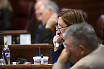 Nevada Sen. Becky Harris, R-Las Vegas, works on the Senate floor during a special session at the Nevada Legislature in Carson City, Nev. on Tuesday, Oct. 11, 2016. <br /> Photo by Cathleen Allison