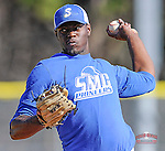 Pitcher C.D. Pelham (40) of the Spartanburg Methodist College Pioneers delivers a pitch in a junior college intrasquad scrimmage on January 19, 2015, at Mooneyham Field in Spartanburg, South Carolina. (Tom Priddy/Four Seam Images)
