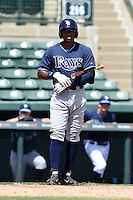Tampa Bay Rays outfielder Manny Sanchez (32) during an Instructional League game against the Baltimore Orioles on September 15, 2014 at Ed Smith Stadium in Sarasota, Florida.  (Mike Janes/Four Seam Images)