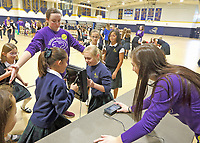 Guerin Catholic students set up a science expo for the students at Our Lady of Mt. Carmel. The students were able to move from demonstration to demonstration and see science in action.