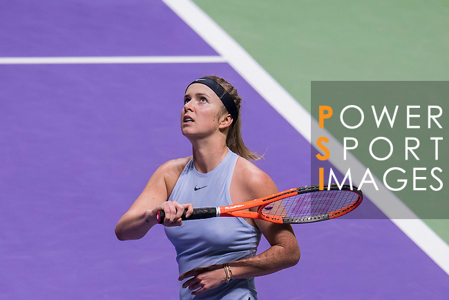 Elina Svitolina of Ukraine reacts in her singles match against Simona Halep of Romania during the BNP Paribas WTA Finals Singapore presented by SC Global at Singapore Sports Hub on 27 October 2017 in Singapore. Photo by Victor Fraile / Power Sport Images