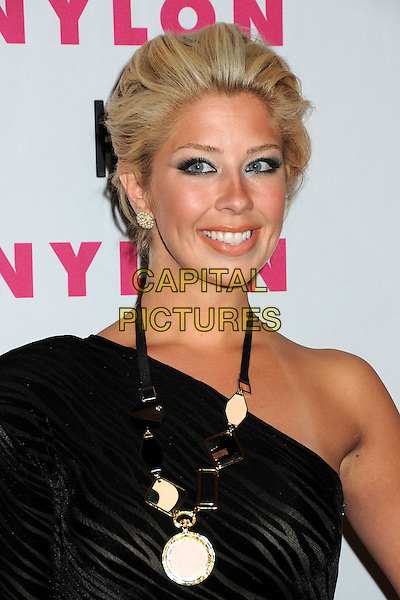 HOLLY MONTAG.Nylon Magazine's Young Hollywood Party held at the Roosevelt Hotel's Tropicana Bar, Hollywood, California, USA..May 12th, 2010.headshot portrait black one shoulder silver gold  necklace .CAP/ADM/BP.©Byron Purvis/AdMedia/Capital Pictures.