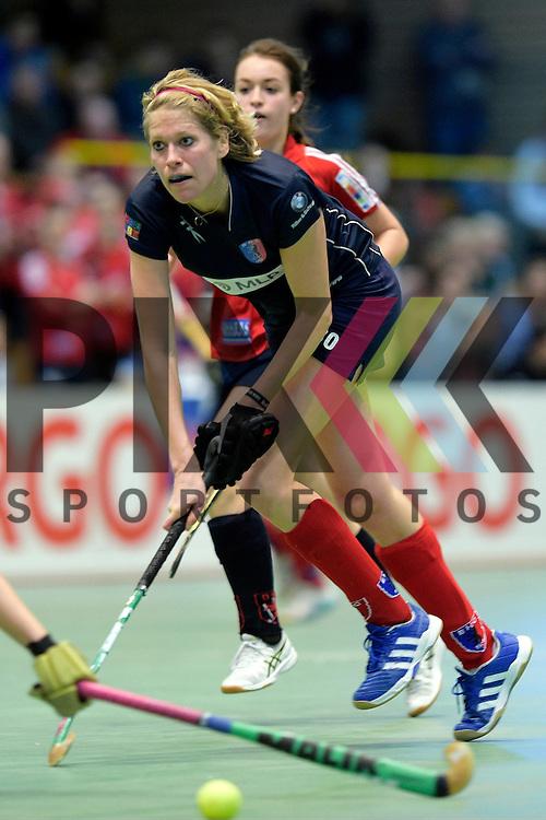 GER - Luebeck, Germany, February 06: During the 1. Bundesliga Damen indoor hockey semi final match at the Final 4 between Berliner HC (blue) and Duesseldorfer HC (red) on February 6, 2016 at Hansehalle Luebeck in Luebeck, Germany. Final score 1-3 (HT 0-1).  Lena Jacobi #30 of Berliner HC<br /> <br /> Foto &copy; PIX-Sportfotos *** Foto ist honorarpflichtig! *** Auf Anfrage in hoeherer Qualitaet/Aufloesung. Belegexemplar erbeten. Veroeffentlichung ausschliesslich fuer journalistisch-publizistische Zwecke. For editorial use only.