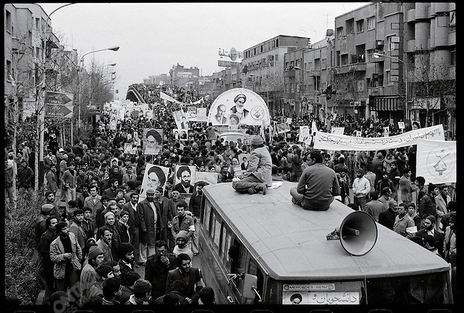 A crowd estimated at one million en route to Shahyad Square in.support of Ayatollah Khomeini's return. Tehran, January 24, 1979