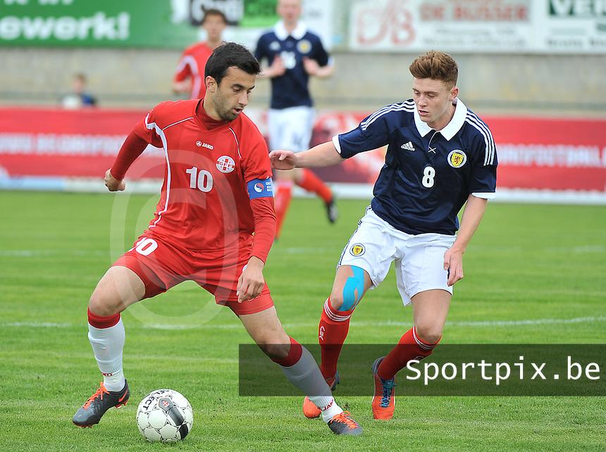 Scotland U19 - Georgia U19 : Bachana Arabuli (10) and Lewis McLeod (8).foto DAVID CATRY / Nikonpro.be