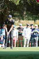 Danny Willett (ENG) lines up his putt on the 16th hole during second round at the Omega European Masters, Golf Club Crans-sur-Sierre, Crans-Montana, Valais, Switzerland. 30/08/19.<br /> Picture Stefano DiMaria / Golffile.ie<br /> <br /> All photo usage must carry mandatory copyright credit (© Golffile | Stefano DiMaria)