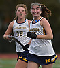 Molly Gerasci #25 of Massapequa, right, reacts after her game-winning in overtime that lifted the Chiefs to a 2-1 win over Port Washington in the Nassau County varsity field hockey Class A final at Berner Middle School in Massapequa on Sunday, Oct. 28, 2018.