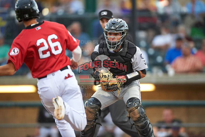Grand Junction Rockies catcher Ronaiker Palma (47) attempts to apply the tag to Victor Ruiz (26) during a Pioneer League game against the Billings Mustangs at Dehler Park on August 14, 2019 in Billings, Montana. Grand Junction defeated Billings 8-5. (Zachary Lucy/Four Seam Images)