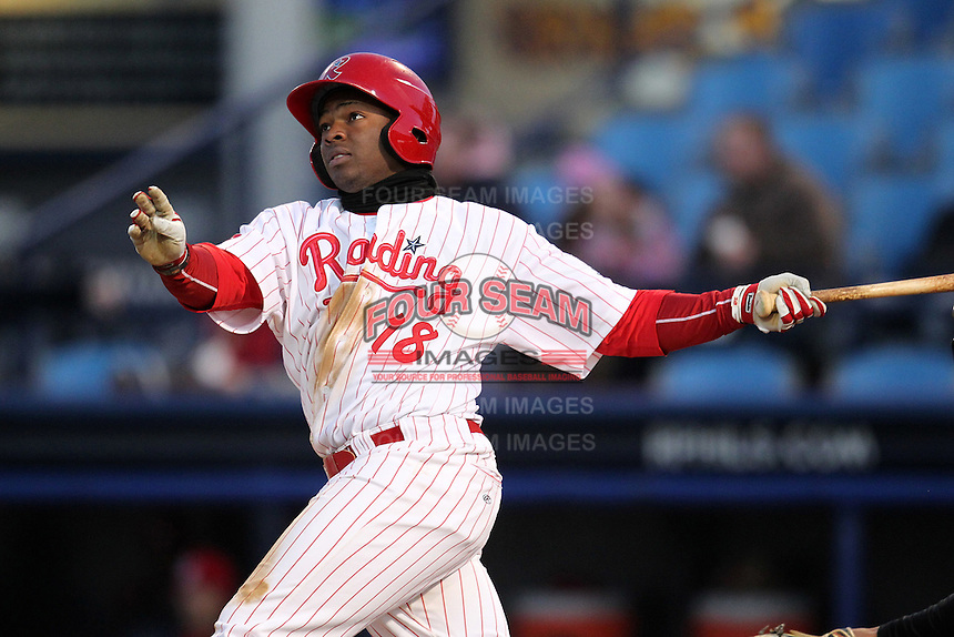 Reading Phillies outfielder Leandro Castro #18 during a game against the New Hampshire Fisher Cats at FirstEnergy Stadium on April 10, 2012 in Reading, Pennsylvania.  New Hampshire defeated Reading 3-2.  (Mike Janes/Four Seam Images)