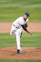 Lancaster JetHawks relief pitcher Salvador Justo (35) during a California League game against the Lake Elsinore Storm on April 10, 2019 at The Hangar in Lancaster, California. Lake Elsinore defeated Lancaster 10-0 in the first game of a doubleheader. (Zachary Lucy/Four Seam Images)