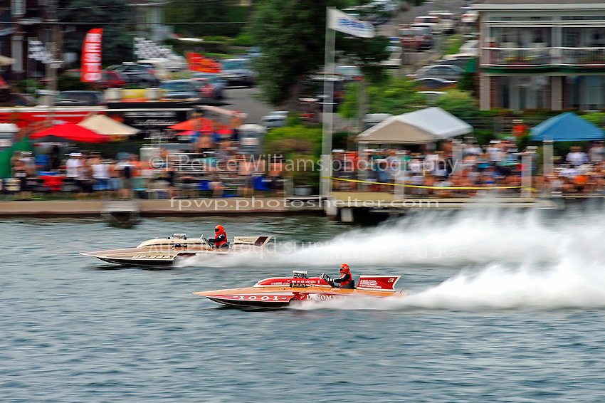 "Robin Demers, GP-242 ""Dynasty"" (Lauterbach Grand Prix class hydroplane) and GP-1001 ""Miss Dinomytes"" (1986 Grand Prix class Lauterbach hydroplane)"