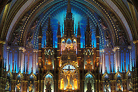 AJ0820, Canada, Quebec, Montreal, cathedral, The magnificent sanctuary of the Basilica of Notre Dame in Vieux Montreal.