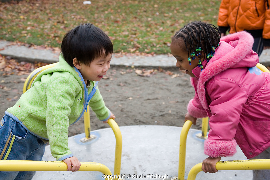 The children love going to the nearby park to play.