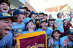 LOS ANGELES, CA - MAY 13: The University of Southern California celebrates with the national championship trophy following the Division I Women's Water Polo Championship held at the Uytengsu Aquatics Center on the USC campus on May 13, 2018 in Los Angeles, California. USC defeated Stanford 5-4. (Photo by Tim Nwachukwu/NCAA Photos via Getty Images)