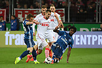 15.04.2019, RheinEnergieStadion, Koeln, GER, 2. FBL, 1.FC Koeln vs. Hamburger SV ,<br />  <br /> DFL regulations prohibit any use of photographs as image sequences and/or quasi-video<br /> <br /> im Bild / picture shows: <br /> Dominick Drexler (FC Koeln #24), Simon Terodde (FC Koeln #9), im Zweikampf gegen  Bakery Jatta (HSV #18), , <br /> <br /> Foto © nordphoto / Meuter