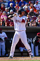 Wisconsin Timber Rattlers catcher Mario Feliciano (4) at bat during a Midwest League game against the Quad Cities River Bandits on April 8, 2017 at Fox Cities Stadium in Appleton, Wisconsin.  Wisconsin defeated Quad Cities 3-2. (Brad Krause/Four Seam Images)