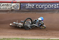 Heat 10: George Hunter (blue) slips off <br /> <br /> Photographer Rob Newell/CameraSport<br /> <br /> National League Speedway - Lakeside Hammers v Eastbourne Eagles - Lee Richardson Memorial Trophy, First Leg - Friday 14th April 2017 - The Arena Essex Raceway - Thurrock, Essex<br /> &copy; CameraSport - 43 Linden Ave. Countesthorpe. Leicester. England. LE8 5PG - Tel: +44 (0) 116 277 4147 - admin@camerasport.com - www.camerasport.com