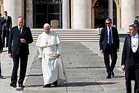 Pope Francis leaves the parvis at the end of his weekly general audience in St. Peter's Square at the Vatican City, October 16, 2019. At right, with sunglasses, new Vatican head of security Gianluca Gauzzi Broccoletti.<br /> UPDATE IMAGES PRESS/Riccardo De Luca<br /> <br /> STRICTLY ONLY FOR EDITORIAL USE