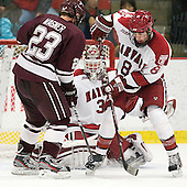 Chris Wagner (Colgate - 23), Steve Michalek (Harvard - 34), Patrick McNally (Harvard - 8) - The Harvard University Crimson defeated the visiting Colgate University Raiders 4-2 on Saturday, November 12, 2011, at Bright Hockey Center in Cambridge, Massachusetts.