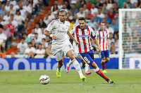 Pepe of Real Madrid and Koke of Atletico de Madrid during La Liga match between Real Madrid and Atletico de Madrid at Santiago Bernabeu stadium in Madrid, Spain. September 13, 2014. (ALTERPHOTOS/Caro Marin)